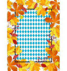 Autumn leaves on a background pattern of blue vector
