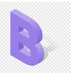 b letter in isometric 3d style with shadow vector image