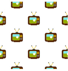 Ball on the screen of retro tv pattern seamless vector