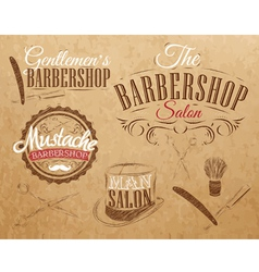 Barbershop Set Kraft vector image vector image