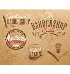 Barbershop set kraft vector