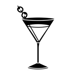 Black silhouette of drink cocktail glass vermouth vector