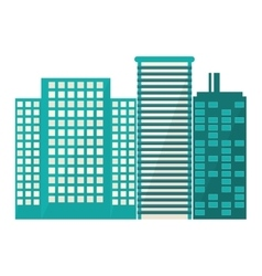 Blue buildings and city scene line sticker vector
