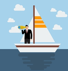 Business man sailing and looking for future vector