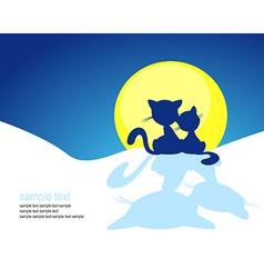 cat silhouette in winter sunset - vector image