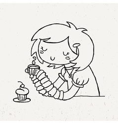 Cute doodle girl with cup of tea and muffin vector
