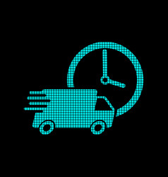 Delivery 24h truck with clock in pixel style vector