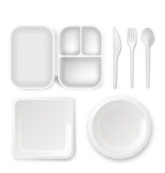 Disposable plastic dishware of vector