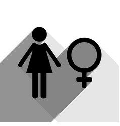 female sign black icon with vector image