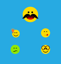 Flat icon emoji set of frown cheerful delicious vector