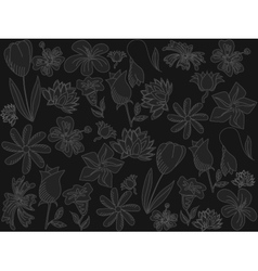 Flowers chalk vector