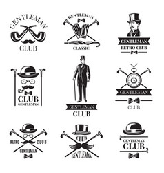 gentleman club badges set vector image vector image