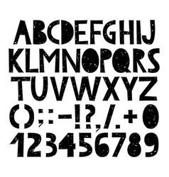 hand drawn grunge alphabet vector image