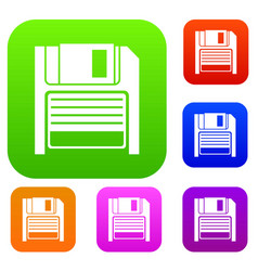 Magnetic diskette set collection vector
