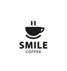 Modern professional sign logo smile coffee vector