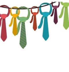 Multiple ties hanging on clothesline vector
