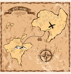 old or vintage map with islands and ship vector image vector image