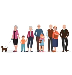 Old people grandparents couples set Granny with vector image