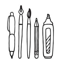 Pens pencil marker and brush set vector image vector image