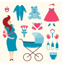 Pregnant young woman and baby clothes vector