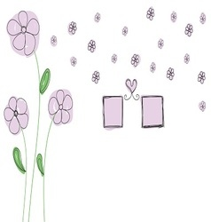 purple flowers with photo frame and heart vector image