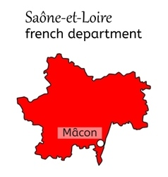 Saone-et-loire french department map vector