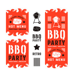 Set of barbecue labels and flyers vector