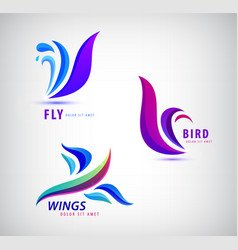 set of bird fly wings logos abstract vector image