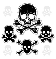 Set of skulls with crossbones vector