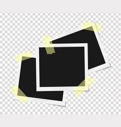 Set of square frames template on sticky tape with vector