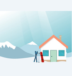 Ski house in mountains ski vacation vector