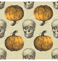 skull seamless with pumpkins vector image