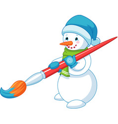 snowman with brush vector image
