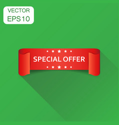 special offer ribbon icon business concept vector image