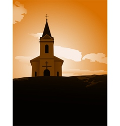 sunset chapel vector image vector image