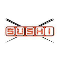 The word sushi logo with hasy chopsticks japanese vector
