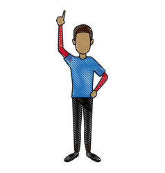 Young man standing cartoon person image vector