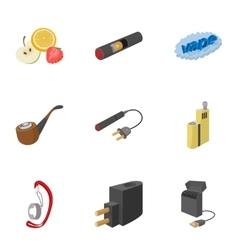 Electronic smoking cigarette icons set vector