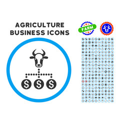 Money cattle relations rounded icon with set vector