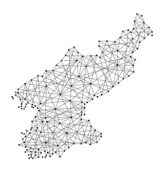 Map of north korea from polygonal black lines vector