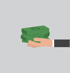 Banknotes in hand businessman vector