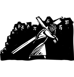 Christ Bearing Cross vector image