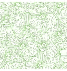 Green lines orchid seamless pattern vector