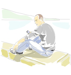 Man with mobile phone sitting on the parapet vector