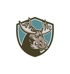 Angry moose mascot shield vector