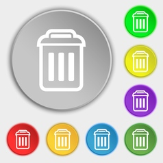 Trash icon sign symbol on eight flat buttons vector