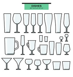 Set of different isolated glasses with a stroke vector