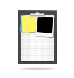 Clipboard paper note papers and photo vector