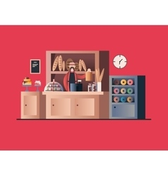 Bakery interior with seller vector