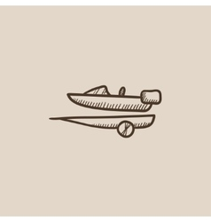 Boat on trailer for transportation sketch icon vector
